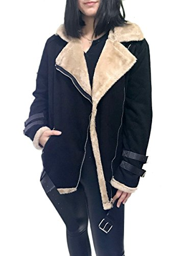 YMING Women's Aviator Jacket Casual Lapel Neck Waistband Suede Jacket Black - Try Square Price India In