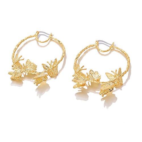 Othink Large Gold Hoop Earrings Butterfly Gold Creole Hoops Earrings