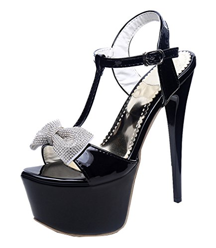 YE Damen Extrem High Heels Plateau Stilettos T-spangen Glitzer Sandalen Pumps mit Schleife und Strass Schuhe Schwarz