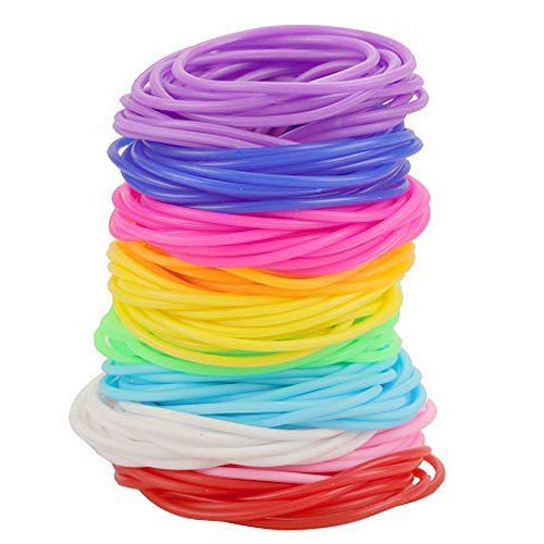 (Rocutus 120pcs/set Colorful Silicone Elastic Hair Ties Ponytail Holders No Metal Hair Elastics Ties Silicone Jelly Bracelets Rainbow Glow Bracelets for Girls)