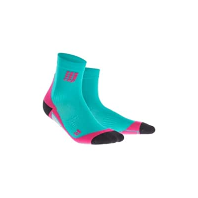 .com : CEP Womens Crew Cut Athletic Performance Running Sock (Lagoon/Pink) II : Sports & Outdoors