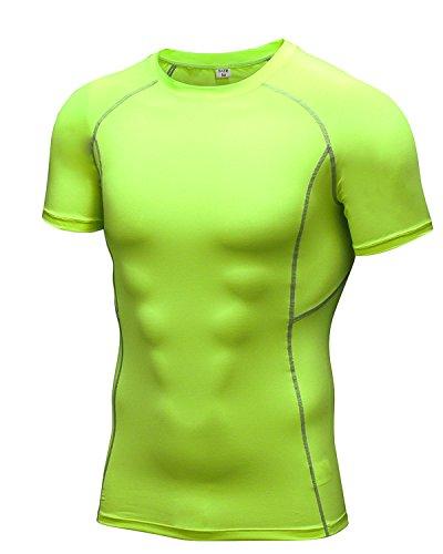 起きる中級バースLNJLVI メンズ 半袖 シャツ ラウンドネック コンプレッションウェア スポーツシャツツ [UVカット + 吸汗速乾] 6色 5サイズ
