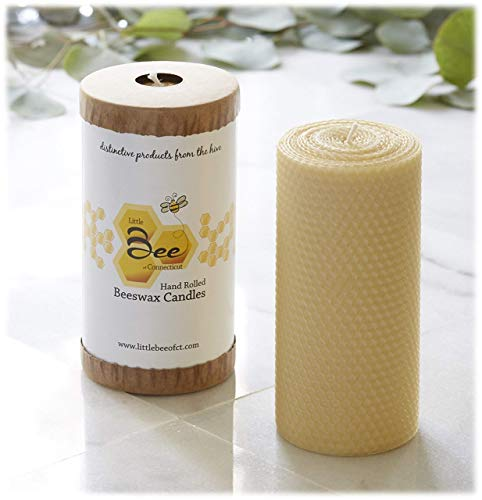 6 Inch Hand-Rolled Beeswax Pillar Candle - Little Bee of CT, A Martha Stewart American Made Maker