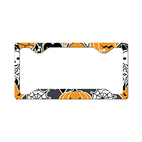 Custom License Plate Frame Halloween Seamless Pattern Style B Aluminum Cute Car Accessories Narrow Top Design Only Set of -