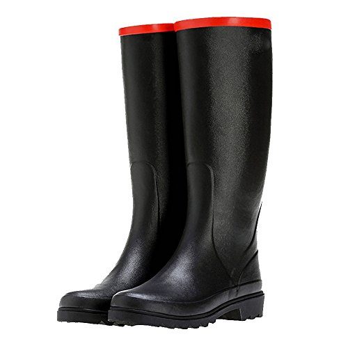 NAN Natural Rubber Spring High Summer Rain Boots Women's Fashion Boots Students Four Seasons Rain Boots Rubber Shoes (Color : Black, Size : EU37/UK4.5-5/CN37) Black