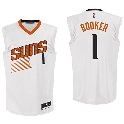 (Outerstuff Devin Bookers Phoenix Suns #1 White Youth Home Replica Jersey Medium 10/12)