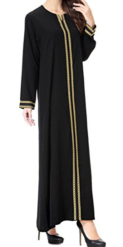 GloryA Women Loose Fit Saudi Arabia Abaya Long Sleeve Muslim Gown Islamic Dress Golden S