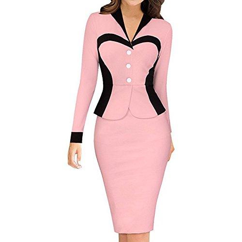 Lapel Solid Red Elegant Bodycon Dress Women's Dark Color Sheath 4qA5cx7wE