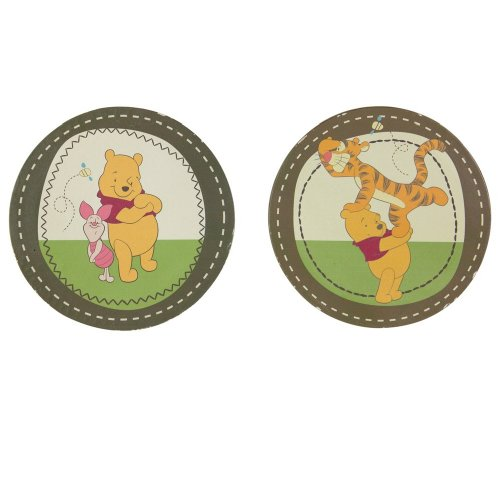 Disney Pooh Pooh's Day In The Park Set Of 2 Round Printed Canvas Art, Brown/Ivory