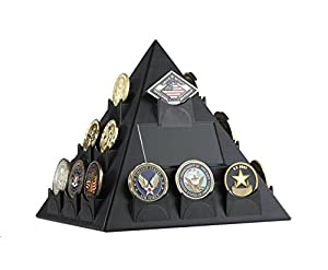 STRATCOIN Pyramid Shaped Rotatable Military Challenge Coin & Poker/Casino Chip Display (BLACK)