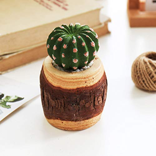 GETMORE7 Artificial Potted, Small Artificial Succulent Plants in Mini Modern Wooden Pile Plante Pots Fake Plants Home Decor Indoor Photography Props (9913 cm,E)