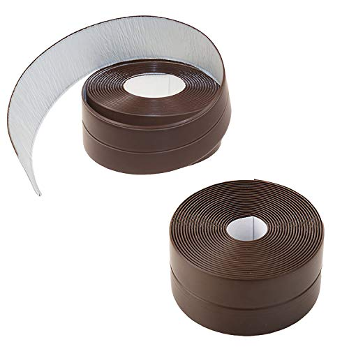 "Gizhome 2 Pack Caulk Strip PE Self Adhesive Tape for Bathtub Bathroom Shower Toilet Kitchen and Wall Sealing 1-1/2"" x 11'- Brown"