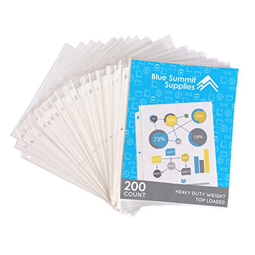 200 Heavyweight Sheet Protectors, Reinforced 3 Hole Design with 3 MIL Thickness, Fits Standard 8.5 x 11 Paper, 9.25 x 11.25 Top Loaded, 200 Pack