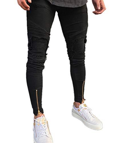 Elasticizzati Uomo Stile Slim Nero Pantalone Strappati Distressed Jeans Da frBw5qf