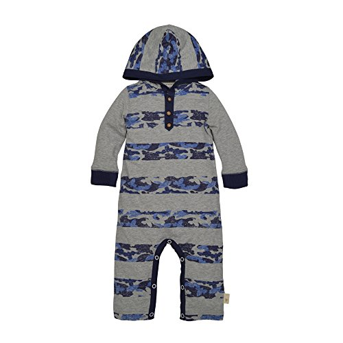 (Burt's Bees Baby Baby Boys' Organic One-Piece Romper Coverall, Heather Grey Hooded Camo Stripe, 18 Months )