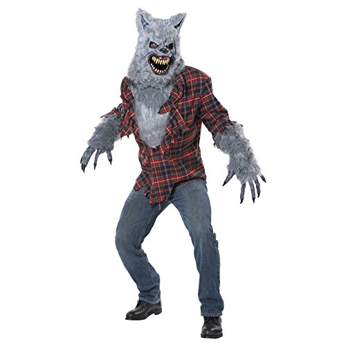 California Costumes Men's Gray Lycan Vampire Werewolf Full faux fur Costume, Red/Gray, Large/X-Large ()