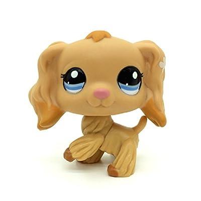 KK toy store #1716 Littlest Pet Shop Tan Cocker Spaniel Puppy Dog Dipped Blue Eyes LPS Rare: Toys & Games