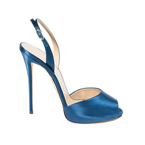 Perla Stiletto tamaño altos azul La EU sandalias tacones 38 OCB4BTq
