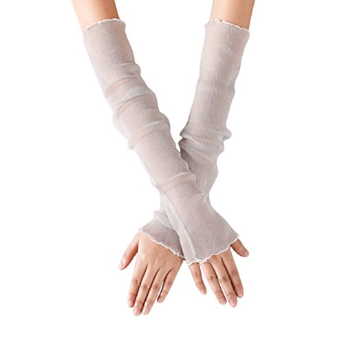 Sun Gloves for Women Bridal Wedding Long Gloves UPF 50+ UV Protection Sleeve Cuff Fashion Lace Leg Stocks Leggings Fancy Party Costume (White Long)]()
