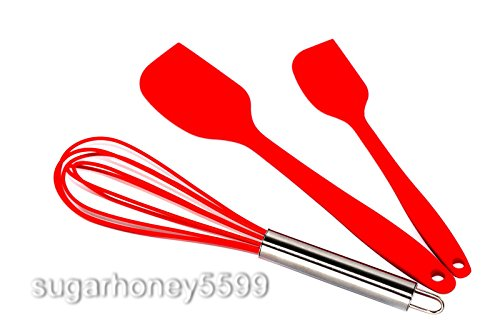 3 PCs Silicone Kitchen Utensils Premium Hygienic Cooking Set 2 Spatulas and 1 Whisk Tool