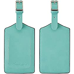 Travelambo Genuine Leather Luggage Bag Tags (Green 7080 Flower Green)