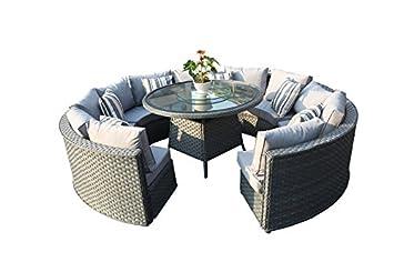 Gartenstühle rattan rund  Amazon.de: yakoe 50144 Monaco 10-Sitzer rund Rattan Gartenmöbel ...