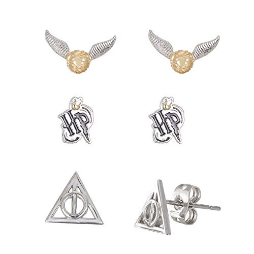Harry Potter Jewelry for Women and Girls, Silver Plated Snitch, Harry Potter Logo & Deathly Hallows Emblem 3 Piece Stud Earrings Set (3 Piece Set Stud Earrings)