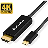 USB-C to HDMI Cable, Amiroko USB 3.1 Type C (Thunderbolt 3 Compatible) to HDMI 4K Cable Adapter for Macbook Pro 2016, Macbook 12, Samsung Galaxy S8/S8+ etc to HDTV, Monitor, Projector (6FT)
