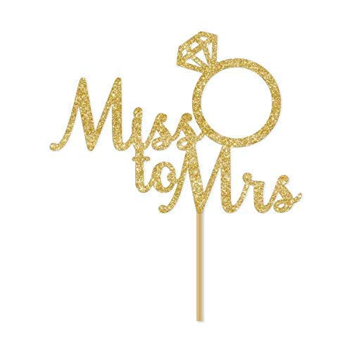 Gold Glitter Miss To Mrs Script Cake Topper Bridal Shower Engagement Party Bachelorette Stagette Ring