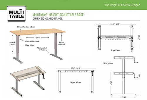 MultiTable Hand Crank Height Adjustable Standing Desk Base   Frame Only    Black (Table Top