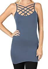 Re.Born Womens CrissCross Lattice Front Round Neck Seamless Cami Camisole Tops Multi Pack [S-3XL]