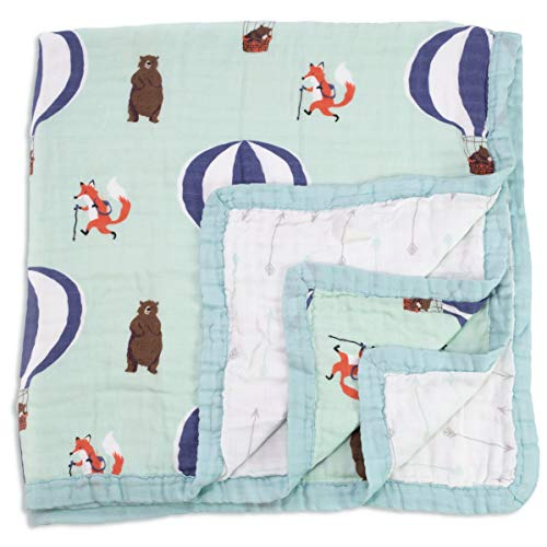 Baby & Toddler Blanket - Boy & Girl. Muslin Cotton Bamboo. Large, Soft & Warm, Breathable & Lightweight. Cozy Dream & Snuggle Blanket. Preschool Nap Security Crib & Bed Blanket (Fox & Bear) ()