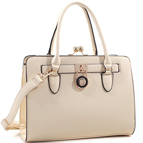 Dasein Top Belted Padlock Handbags Laptop Bag Tote Briefcase Satchel Shoulder Bags Designer (Belted Laptop Tote)