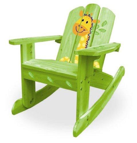 Lohasrus Kids Rocking Chair, Green Giraffe Silk Screen