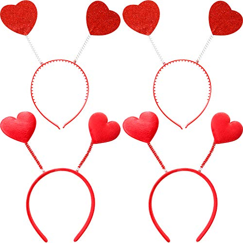 Tatuo 4 Pieces Valentine Red Headband Heart Headbopper Party Accessory for Valentine's Day Party Supplies, 2 Styles ()