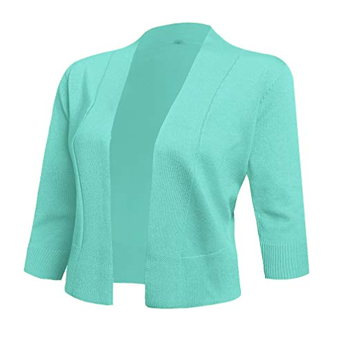 AAMILIFE Women's 3/4 Sleeve Cropped Cardigans Sweaters Jackets Open Front Short Shrugs for Dresses Mint Green L -