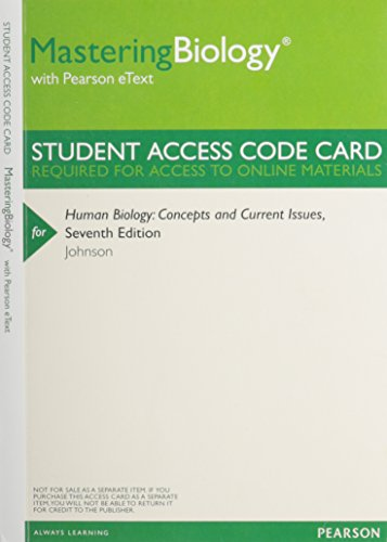 Mastering Biology with Pearson eText -- ValuePack Access Card -- for Human Biology: Concepts and Current Issues