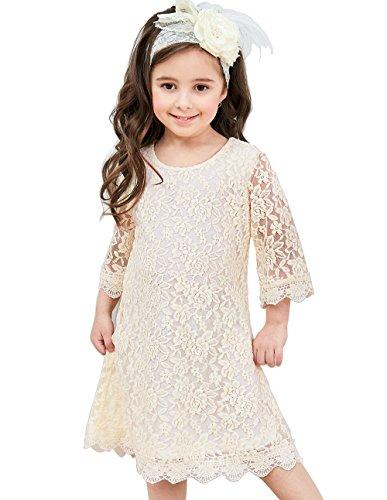 APRIL GIRL Flower Girl Dress, Lace Dress 3/4 Sleeve Dress (Ivory, 3T) ()