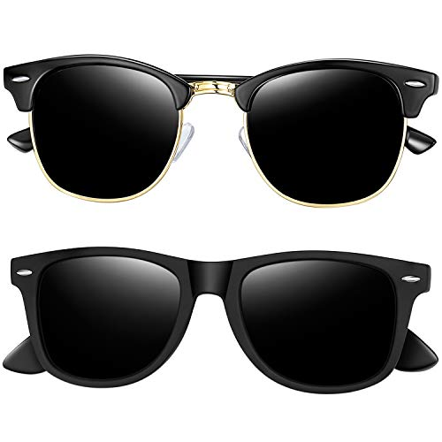 Joopin Polarized Sunglasses for Women - 2 Pack Retro Brand Designer Mens Sunglasses (Matte Black+Shiny Black)