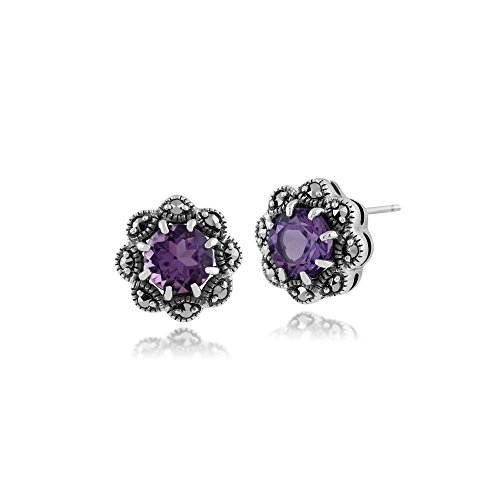 Amethyst Marcasite 925 Silver Ring - 2