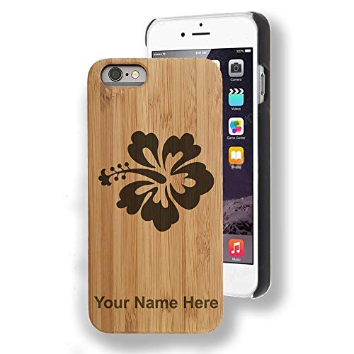 Bamboo case Compatible with iPhone 6 and iPhone 6s, Hibiscus Flower 1, Personalized Engraving Included