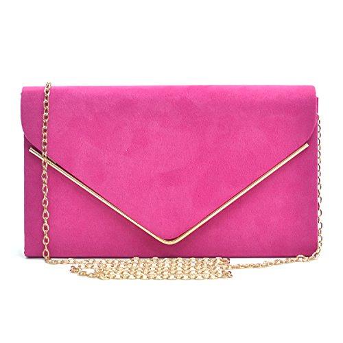 Womens Envelope Flap Clutch Handbag Evening Bag Purse Velvet Suede Party Hot Pink