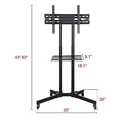 Yaheetech 32 to 65 Inch Mobile TV Cart Universal Flat Screen Rolling TV Stand Trolley Console Stand with Mount for LED LCD Plasma Flat Panels on Wheels
