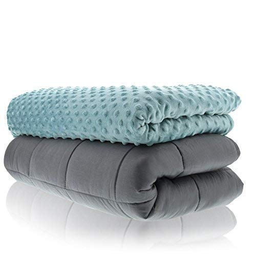 Sonno Zona Weighted Blanket Adult Size - Blanket with Cover Included - Tide 48x72 inches 15 Pound - Blankets Made from Relaxation Sleep Fabric for Natural Calm by Sonno Zona