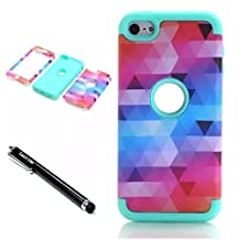 iPod Touch 6th Generation Case,Lantier 3 Layers Verge Hybrid Soft Silicone Hard Plastic TUFF Triple Quakeproof Drop Resistance Protective Case Cover with Stylus Diamond Design/Mint Green