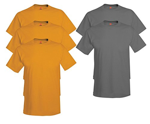 Hanes Comfort Soft Crew-Neck T-Shirt (Pack of 5), 3 Gold/2 Smoke Gray, 2XL