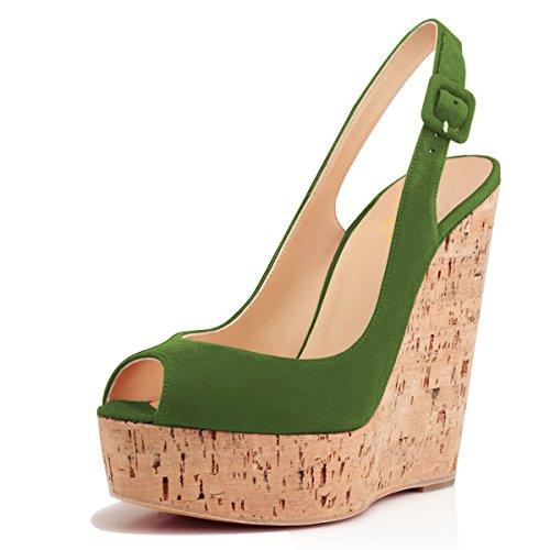 - XYD Women Peep Toe Wedge Sandals Platorm Cork High Heel Slingback Slip On Dress Shoes Size 9 Olive