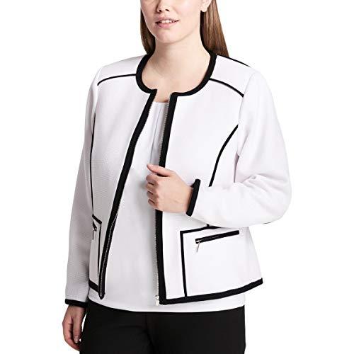 Calvin Klein Womens Plus Pique Contrast Trim Jacket