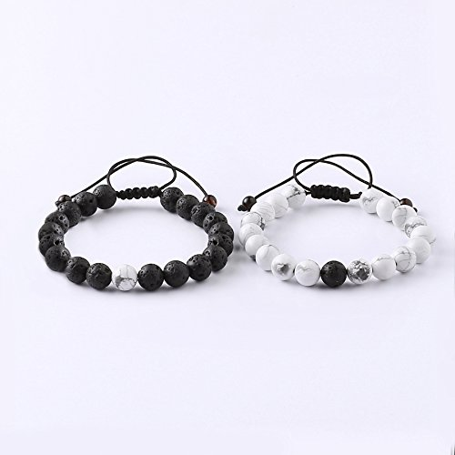 05e3fdcc97 MAOCEN Distance Relationship Bracelet for Lover-2pcs Black Lava Rock & White  Howlite Stone 8mm