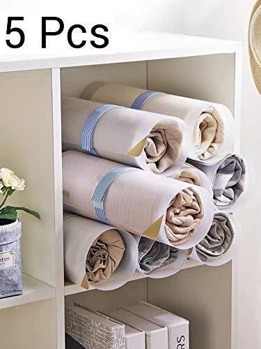Yi-Yi Translucent Roller Folding Board Closet Organizer Durable Plastic Laundry folders for T-Shirt/Pants/Shirt/Sweater (5Pcs)
